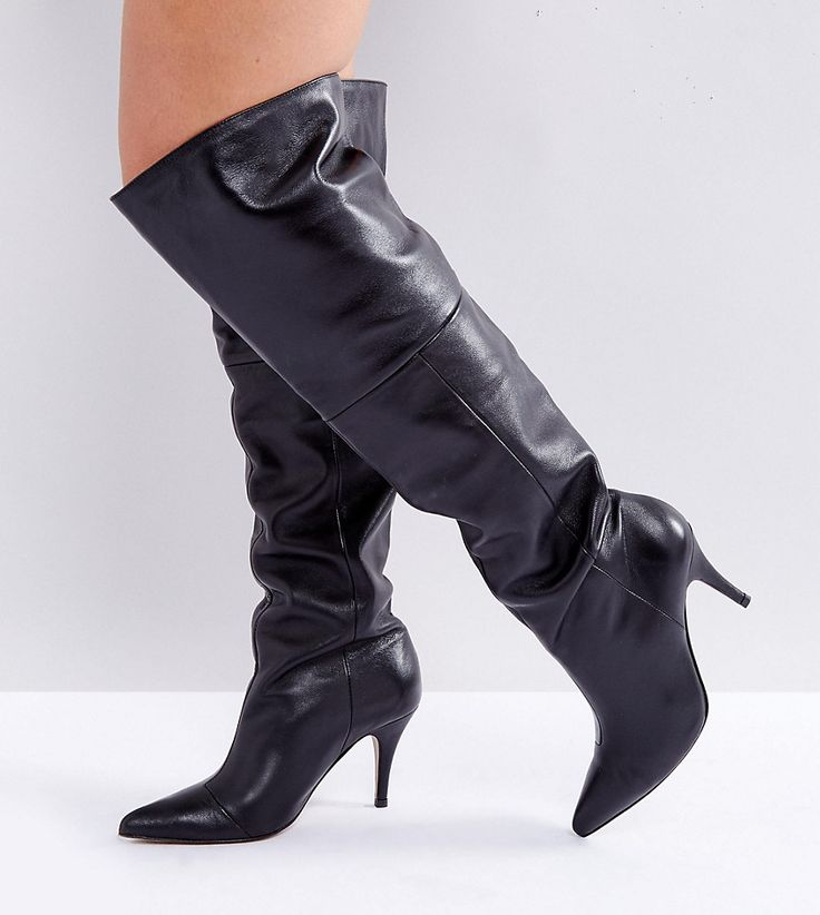 ASOS KLARA Wide Fit Leather Slouch Over The Knee Boots - Black