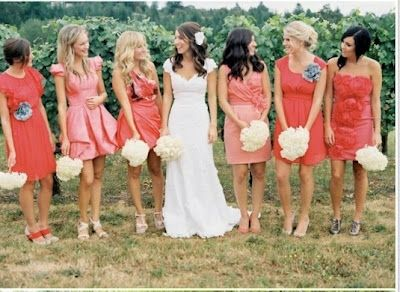 salmon and turquoise bridesmaid dresses - Google Search
