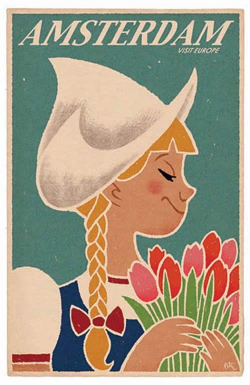Vintage Travel Poster Amsterdam, the Netherlands