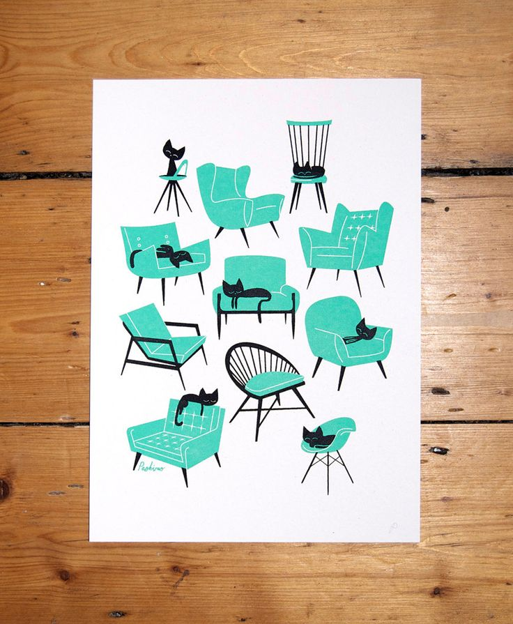 Cat Naps - A4 - 2 colour screenprint. £28.00, via Etsy.