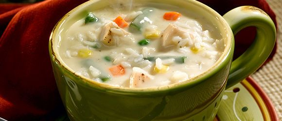 KRAFT Creamy Chicken and Rice Soup | My Note: Imagine this with wild & white mix instead of just white! Yummy!