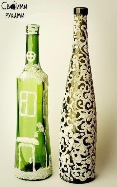 Декорируем бутылки манной крупой.