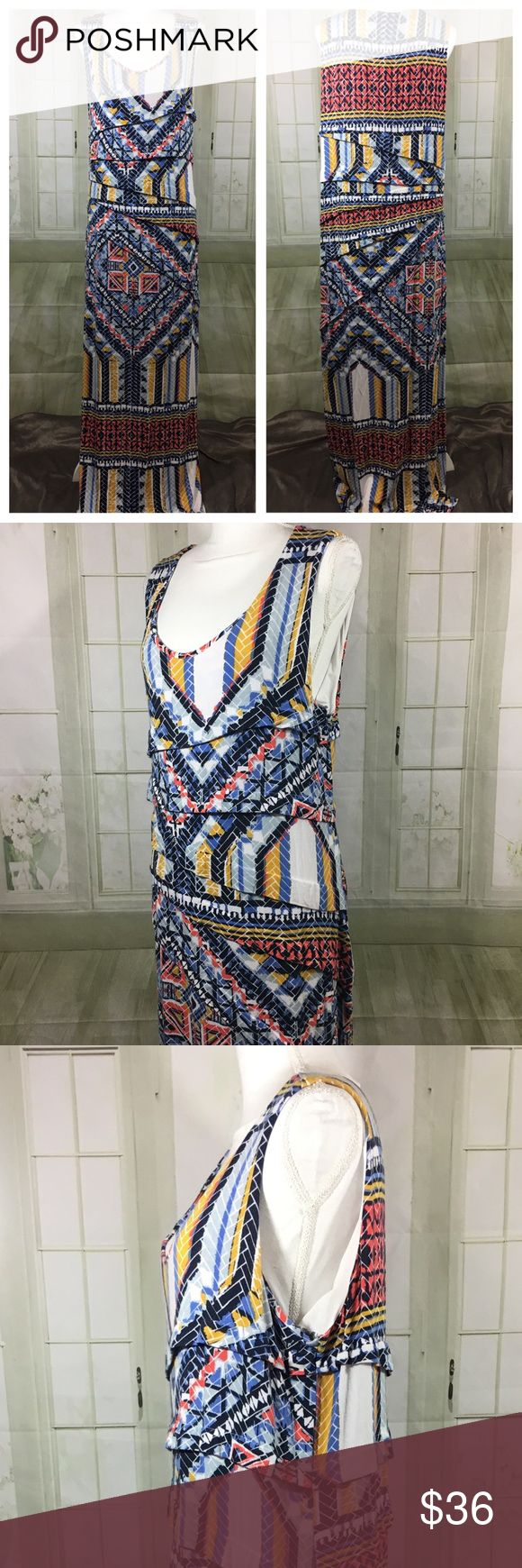 """LYSSE Aztec Print Maxi Plus Size Dress 2X Pullover, stretch maxi dress. Interior lining, heavyweight dress with long 29"""" side slit.  Approx. Measurements laying flat: Underarm to underarm: 23"""" Length: 58""""  Questions please ask!   Bin#2 Lysse Dresses Maxi"""