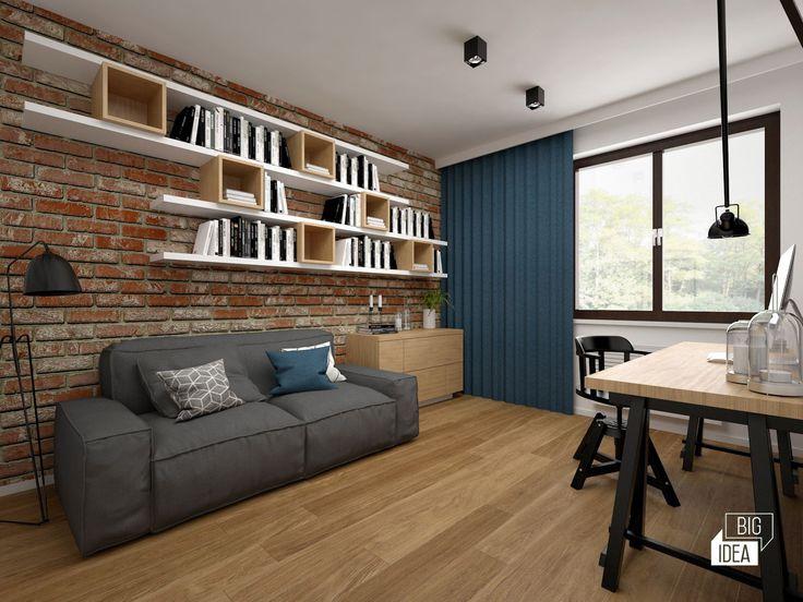 Projekt mieszkania 85m2 w Krakowie, styl eklektyczny, loftowy, wnętrze prywatne; Pokój