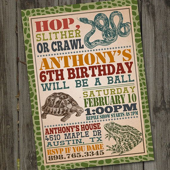 Reptile Birthday Invitation PRINTABLE Reptile Party by partymonkey
