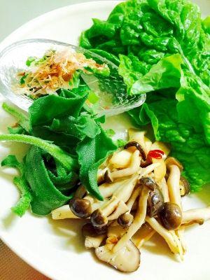 「サンチュと茹で小松菜のヘルシーワンプレートサラダ」メインがお肉だったのでサラダはシンプルにサンチュをどーんっと。きのこのガーリック炒めは我が家の常備菜です(^_-)-☆【楽天レシピ】