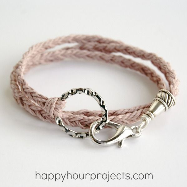 Woven Wrap Bracelet, from Happy Hour Projects.    A little bit trickier than it looks, but I'm pretty sure I could manage this - just need to buy the end cap and clasp.