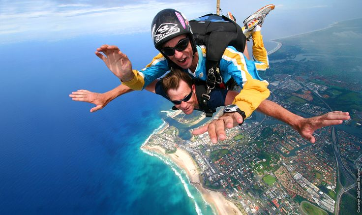 Skydive above the coastline and land on the sand! www.goldcoastskydive.com.au