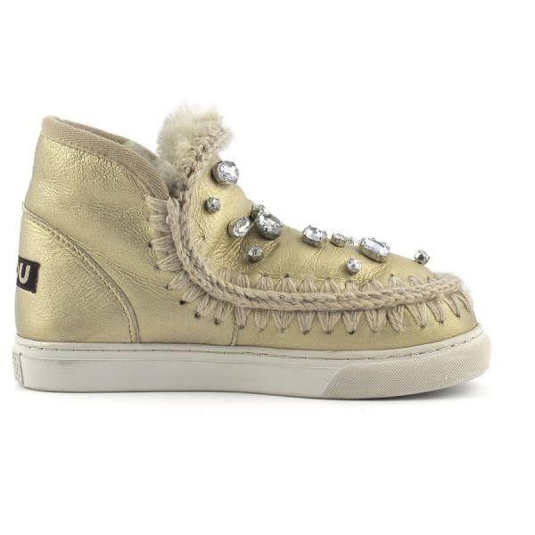 MOU Mini Eskimo Sneaker With Rhinestones Women Boots Pearl Nappa Gold - MOU Christmas Day Deals (289€->215€) AVAILABLE NOW! #christmas #ChristmasSale #christmasdeals