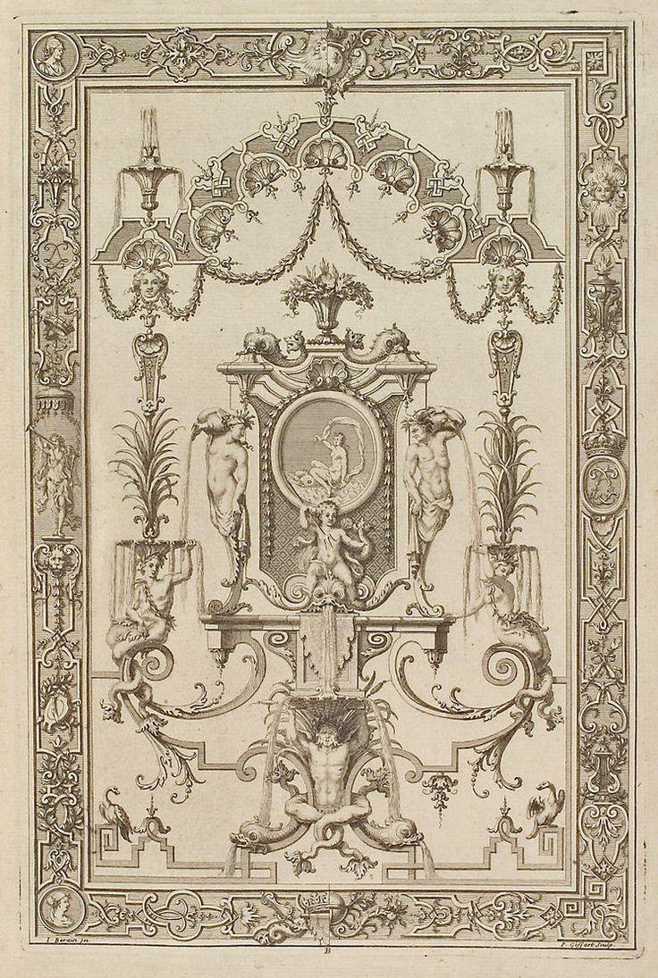 J. Bérain, Design for a grotesque panel, French engraving