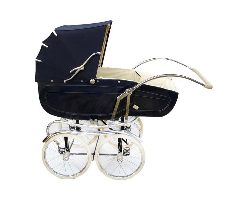 Vintage Baby Carriage Mid Century Stunning vintage English pram stroller made by Pedigree with original hardware and navy blue coverings in working condition. Slight wear due to its age but otherwise in excellent vintage condition. $248