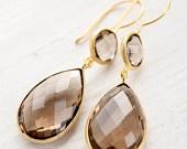 WINTER SALE Smokey Quartz Earrings - Neutral Tones - Sophisticated Teardrop Earrings