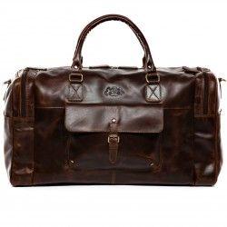 SID & VAIN Weekender Yale Ledertasche Sporttasche - Leder Reisetasche, groß L, braun-cognac