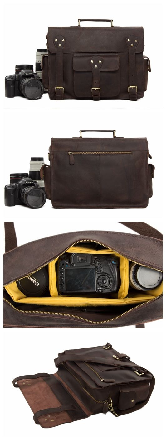 "Genuine Leather DSLR Camera Bag Leather Briefcase Leather Camera Bag For Canon&Nikon 7200 Model Number: 7200 Dimensions: 14.9""L x 4.9""W x 11""H / 38cm(L) x 12.5cm(W) x 28cm(H) Weight: 3.7lb / 1.7kg Har"