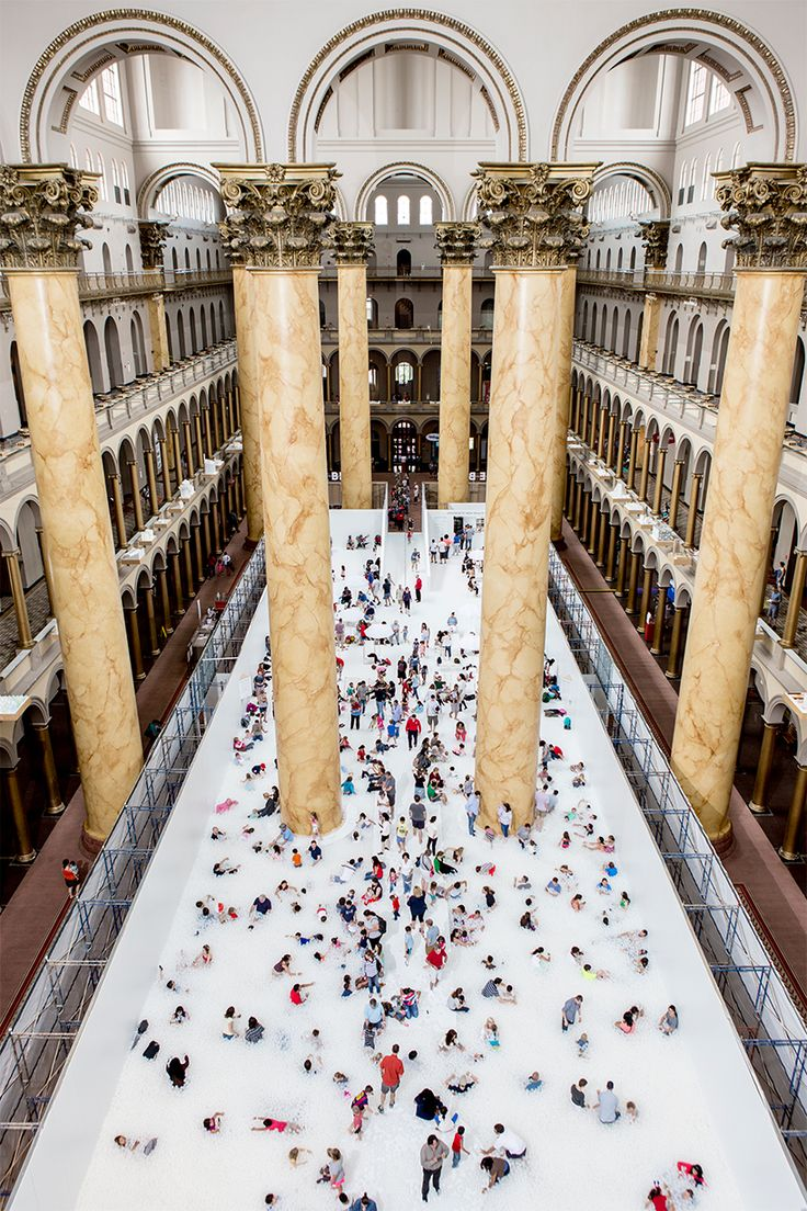 snarkitecture turns the national building museum into a 10,000 sq ft ball pit