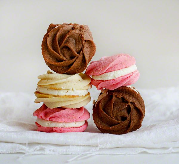 Rose Neapolitan Spritz Cookies!! This unique and creative design originated on the iambaker blog and is a fan favorite!