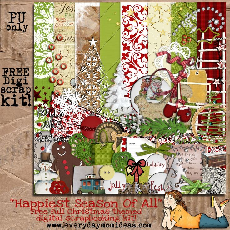 "Everyday Mom Ideas: ""Happiest Season Of All"" FREE digital scrapbooking kit (now through media fire)"