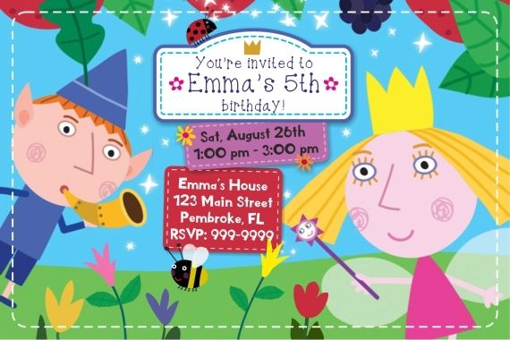 Ben And Holly S Little Kingdom Digital Invitation Ben And Holly Birthday Invites Ben And Holly Party Ideas Ben And Holly Birthday Invitations