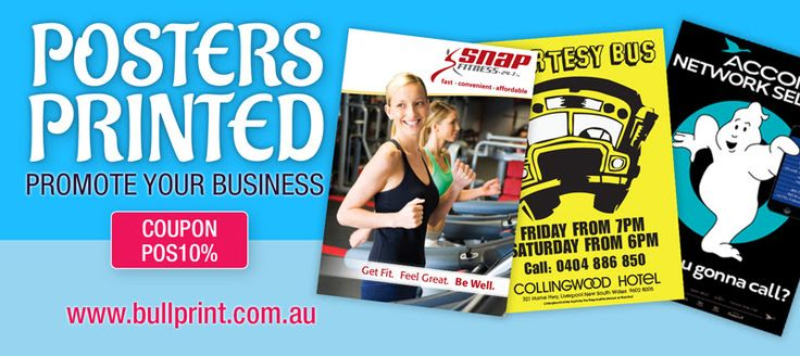 Use this coupon code  POS10%  to get 10% off the price of our already low poster printing. Send us your files to print or get our designer to create a design for you.  Contact us for a custom quote on any printed job. We have a range of finishing equipment that can handle most print jobs at any size and on any paper or card stock Send an email to:  sales@bullprint.com.au