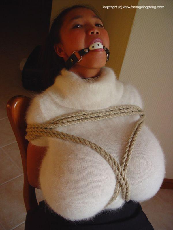 Angora sweater bondage