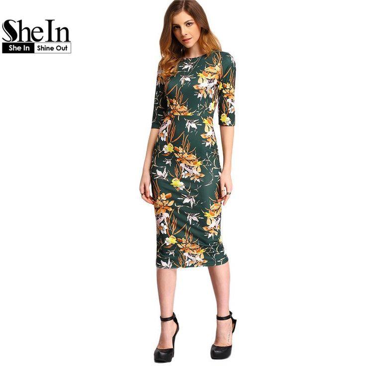 SheIn Womens Autumn Dress Bodycon Dresses New Vintage 2016 Spring Summer Office Green Mock Neck Floral Pencil Midi Dress
