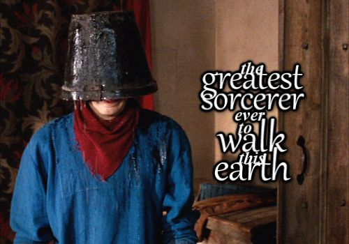 With a bucket on his head. He will walk the earth in a dignified fashion with a