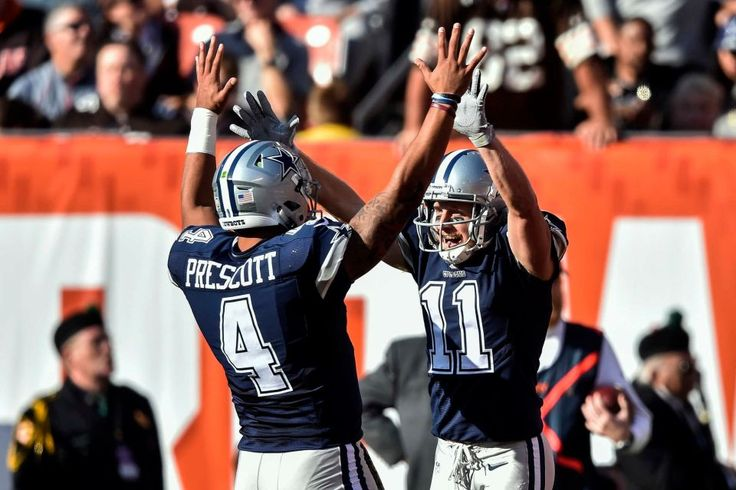 Cowboys vs. Browns:  35-10, Cowboys  -  November 6, 2016  -   Dallas Cowboys wide receiver Cole Beasley (11) celebrates his touchdown with quarterback Dak Prescott (4) in the first half of an NFL football  game against the Cleveland Browns, Sunday, Nov. 6, 2016, in Cleveland. (Credit: AP / David Richard)