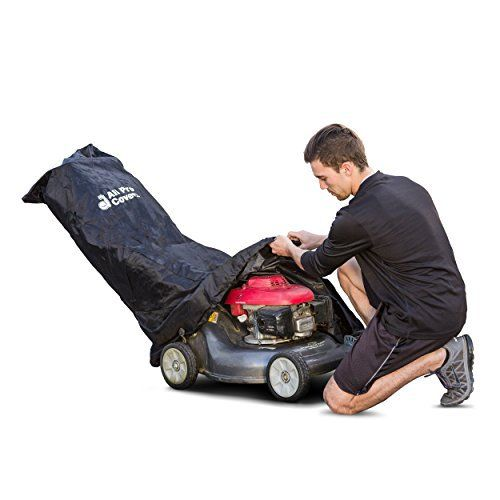 Product review for Universal Push Lawn Mower Cover by All Pro Covers - Marine Grade Fabric (600D). – Universal Walk-Behind Lawn Mower Cover – Professional Grade / Heavy Duty – Double Stitching – 600D Marine Grade Fabric – Matching Storage Bag – Tear Resistant – Weather, Water, UV and Mildew Resistant – Secure Drawstring Sewn into the...