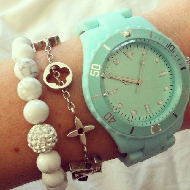 : Arm Candy, Mint Green, Louis Vuitton, Color, Tiffany Blue, Wrist Candy, Teal Watches, Arm Parties, Mint Watches