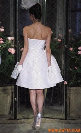 wyjątkowy Bowknot bez ramiączek krótki tafta Suknie ślubne Online 2012