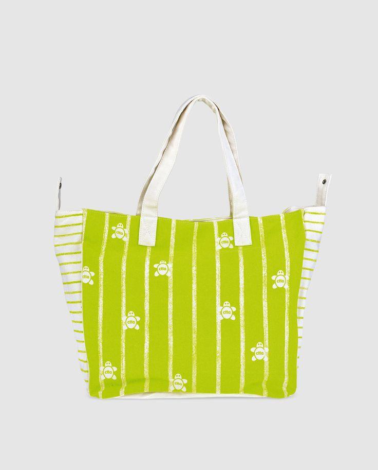 Bolso de playa de algodón en verde pistacho con estampado a contraste de CAMINATTA - Bolso de playa de algodón en color verde pistacho, con estampado a contraste y asa media. Los botones automáticos de los laterales permiten hacer el bolso más pequeño   El Corte Inglés