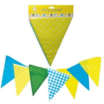 Vlaggenlijn Party geel blauw groen 6 meter
