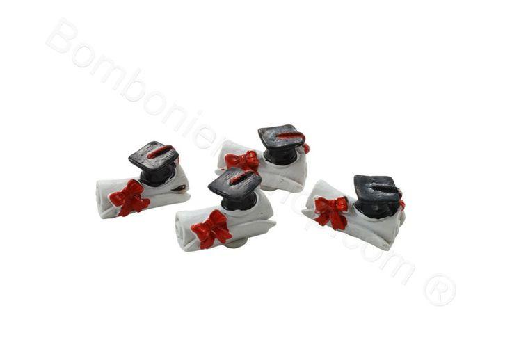 Set 8 pz. Applicazione pergamena mini in resina decorata con adesivo retro per fai da te bomboniera laurea (LS)