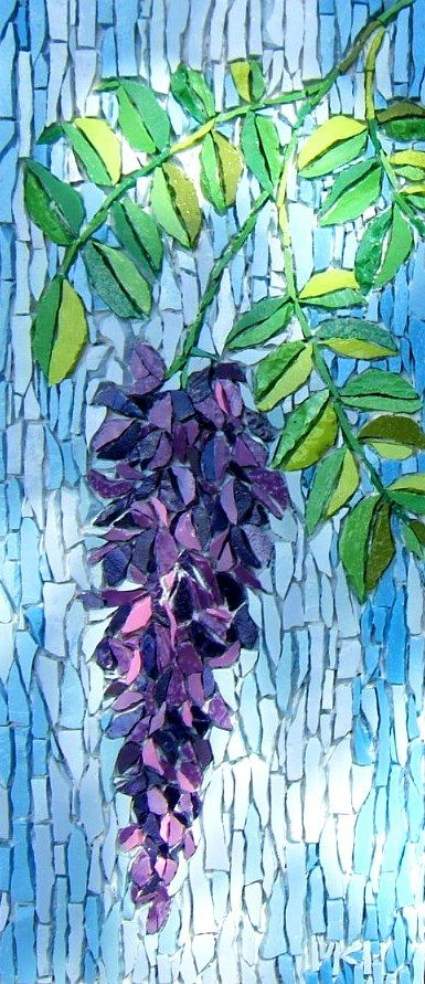 """Wisteria"" - mosaic by Kimmy McHarrie isn't grouted yet, but is so very beautiful! Colorful too!"