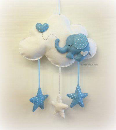 fiocco nascita nuvola con elefantino e cuore