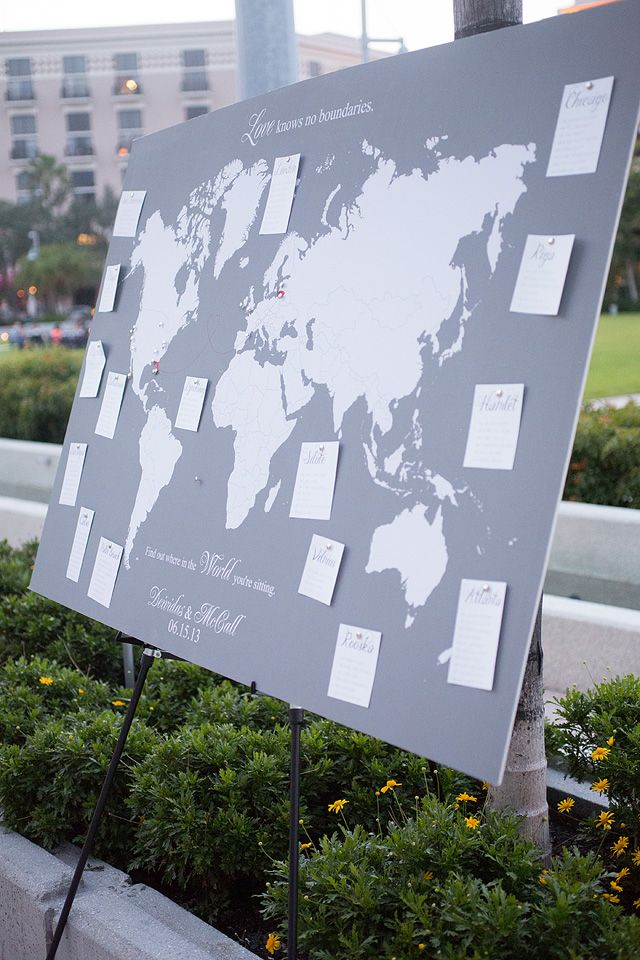 travel inspired wedding seating chart, photo by capturedbyjen.com