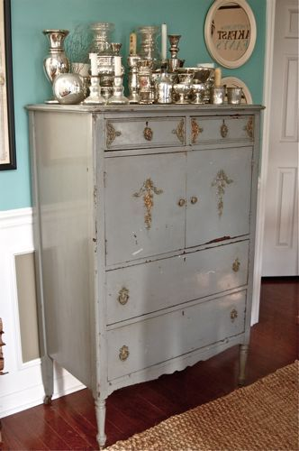 (Vintage Junky) Distressed Gray Dresser With Gold Knobs. Distressed PaintingPaint  FurnitureFurniture ...