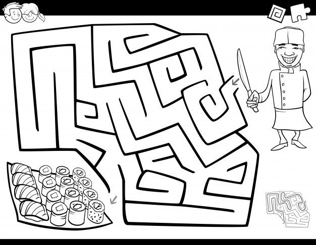 Maze Game Coloring Book With Chef And Sushi Maze Game Coloring Books Maze