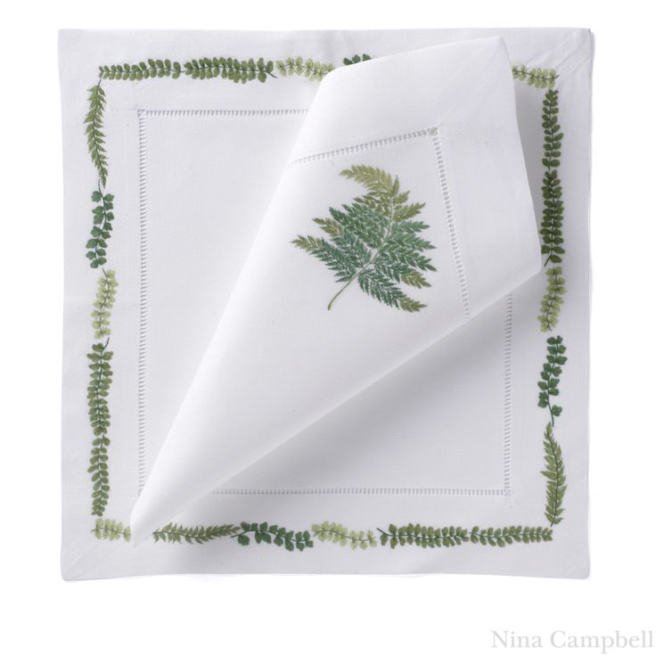 Buy Green Embroidered Fern Placemat - Tabletop - Accessories - Dering Hall