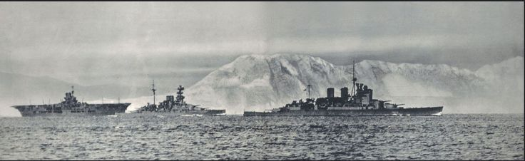 Carrier HMS Ark Royal, battleship HMS Malaya and battlecruiser HMS Renown of the famous Force H (Vice-Admiral Sir James Somerville), leaving their base at Gibraltar in July 1940.