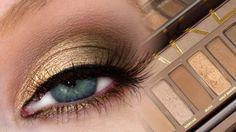Gold Braun Lidschatten Farbpalette für blaue Augen