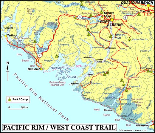 Map of Pacific Rim, West Coast Trail & Barkley Sound BC, Vancouver Island, British Columbia
