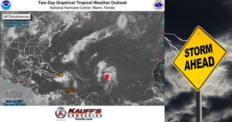 TROPICAL WEATHER UPDATE 7:30 AM Learn More: http://www.nhc.noaa.gov/gtwo.php?basin=atlc&fdays=2#utm_sguid=164936,8ce5a3f2-1c56-ae66-e712-9a953073ab35