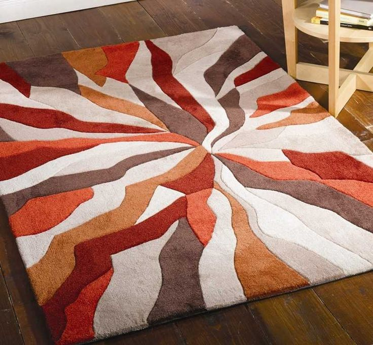 Splinter burnt orange rugs modern rugs rugs for Modern area rugs for sale
