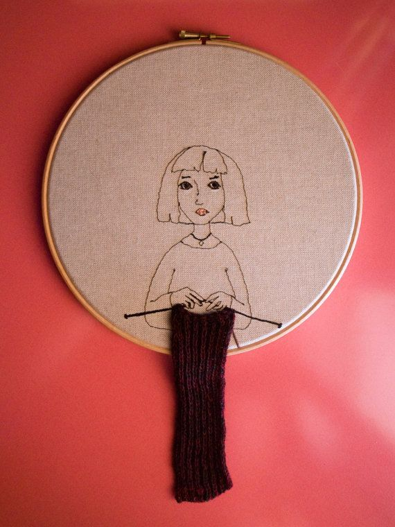 Girl who knits love - embroidery hoop art textile art fiber art - Embroidery…