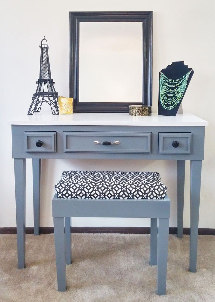 Sleek Gray and White Maple Vanity Makeup Table | Home ...