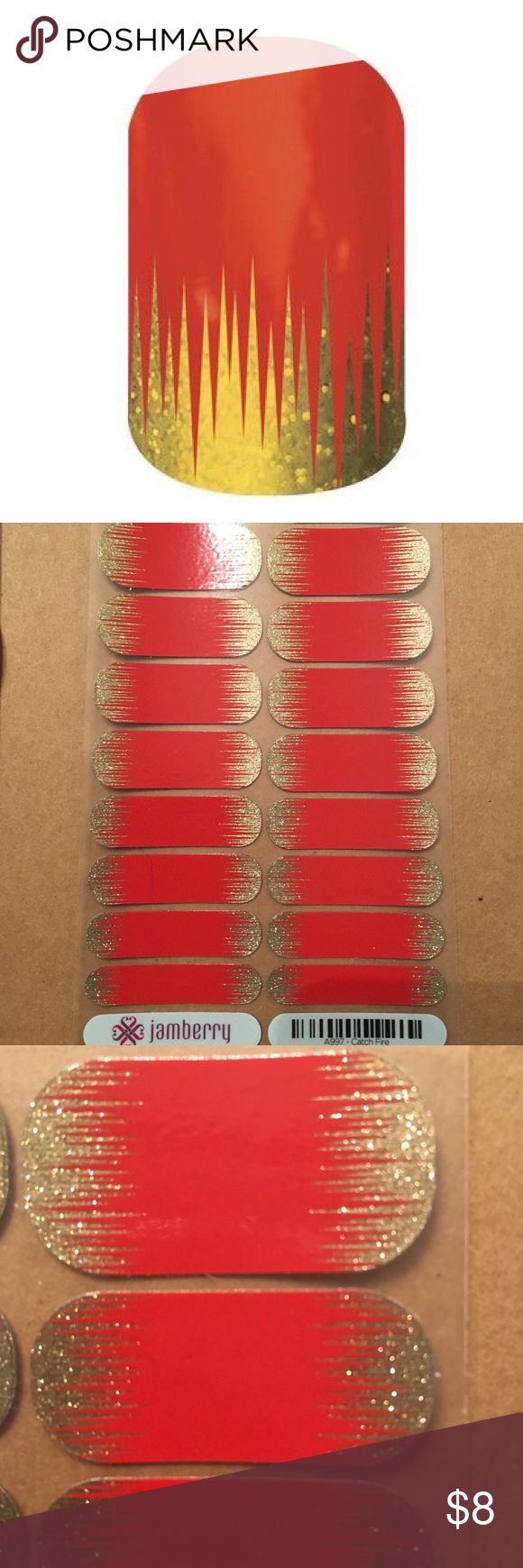 Catch Fire Jamberry Nail Wraps Full Sheet of Catch Fire Jamberry Nail Wraps. Jamberry Makeup