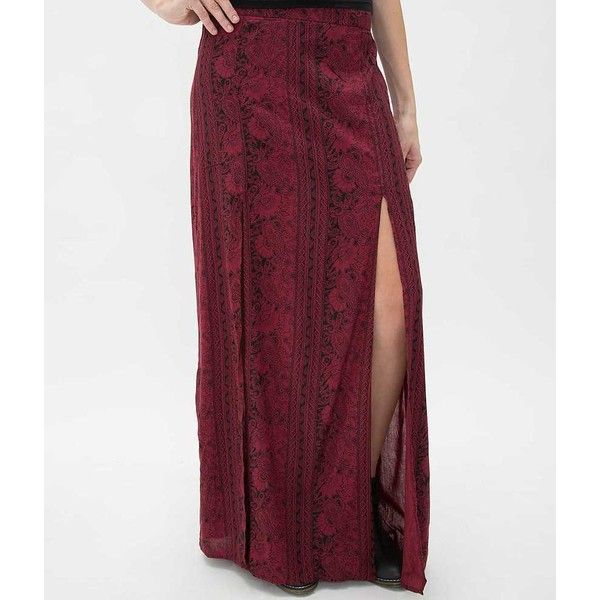 Billabong Never Look Back Maxi Skirt - Red Small ($10) ❤ liked on Polyvore featuring skirts, red, red skirt, elastic waist maxi skirt, elastic waistband skirt, elastic waist long skirts and purple maxi skirt