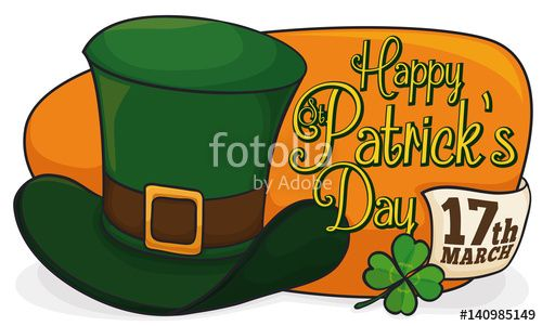 Leprechaun's Hat with Date and Clover for St. Patrick's Celebration