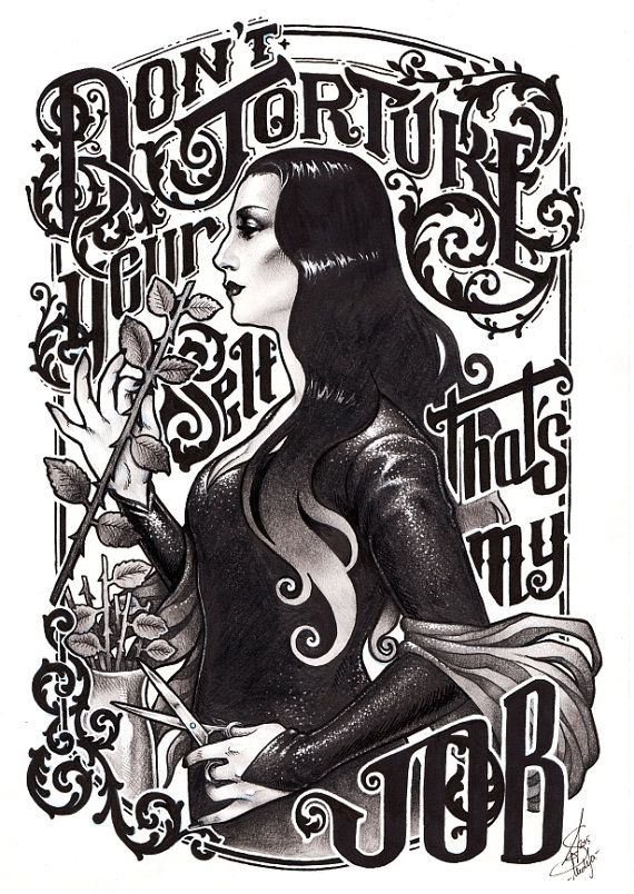 MORTICIA ADDAMS PRINT DinA4 8x11'' print - hand signed print. High Quality 350g matte couche paper - Addams family fanart